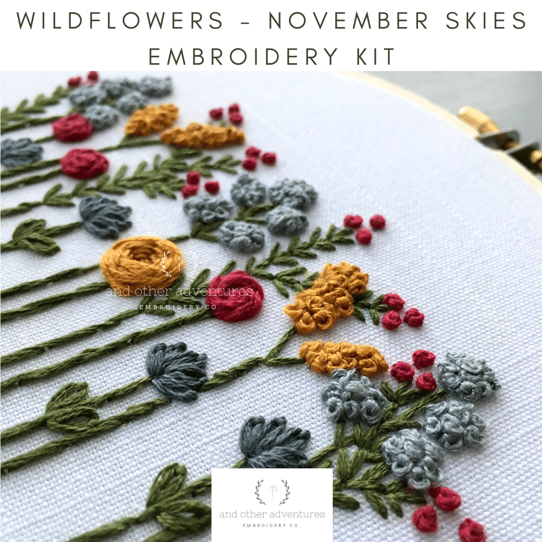 Hand Embroidery Kit - Wildflowers - November Skies