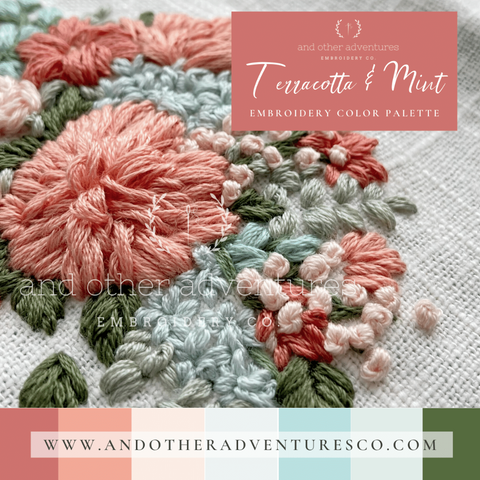 Terra Cotta & Mint Color Palette for Hand Embroidery | And Other Adventures Embroidery Co