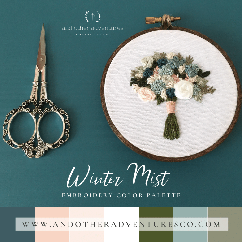 Winter Mist Hand Embroidery Color Palette by And Other Adventures Embroidery Co