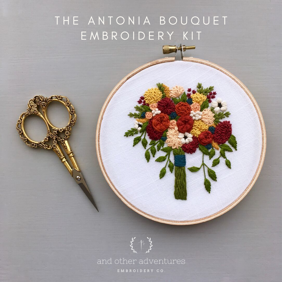 Hand Embroidery Kit -Fall Floral Bouquet - The Antonia by And Other Adventures Embroidery Co