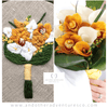 Mustard Yellow Orchid and Calla Lily Bridal Bouquet by And Other Adventures Embroidery Co