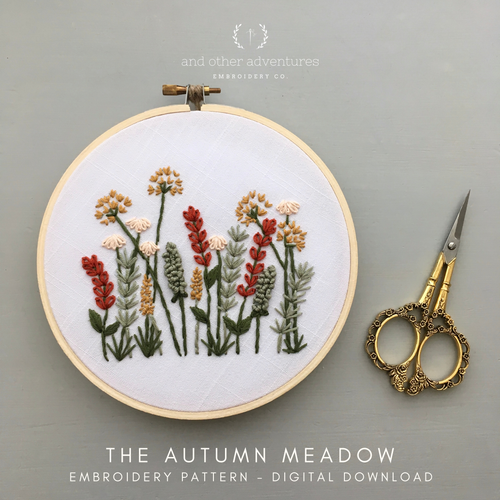 Beginner Hand Embroidery Pattern - Autumn Meadow by And Other Adventures Embroidery Co