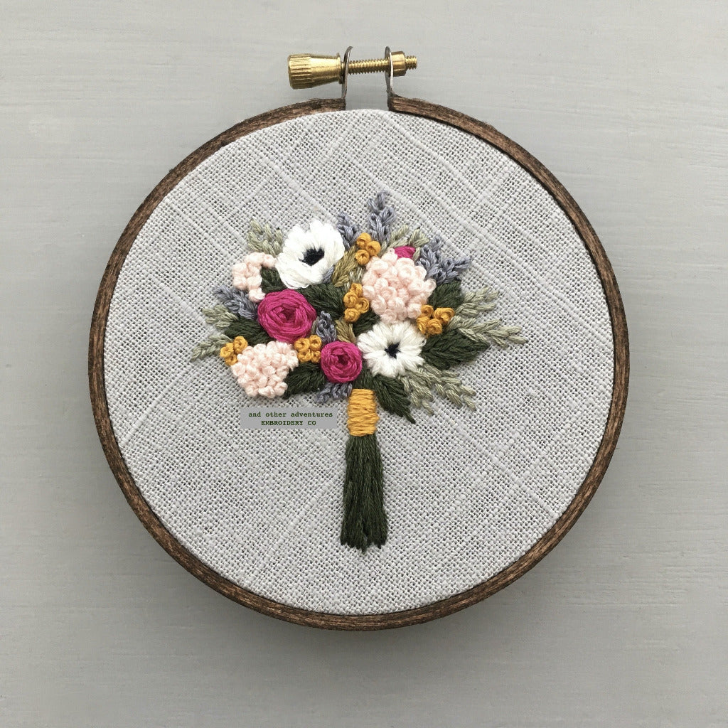 Jewel Tone Embroidered Floral Bouquet | And Other Adventures Embroidery Co
