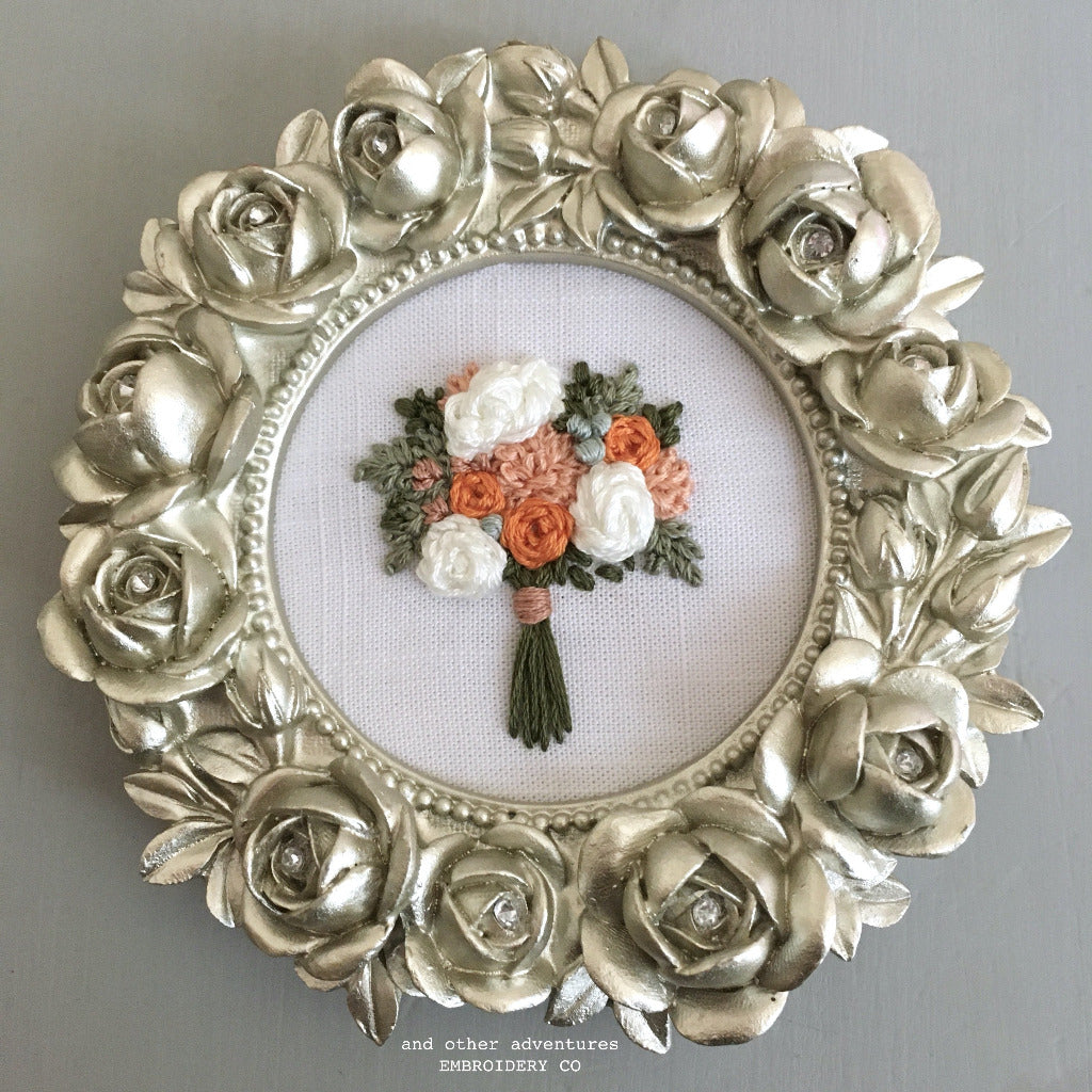 Framed Embroidered Bouquet Art by And Other Adventures Embroidery Co