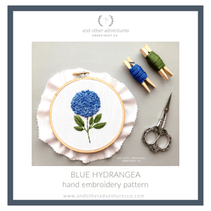 DIY Hand Embroidery Pattern Blue Hydrangea by And Other Adventures Embroidery Co