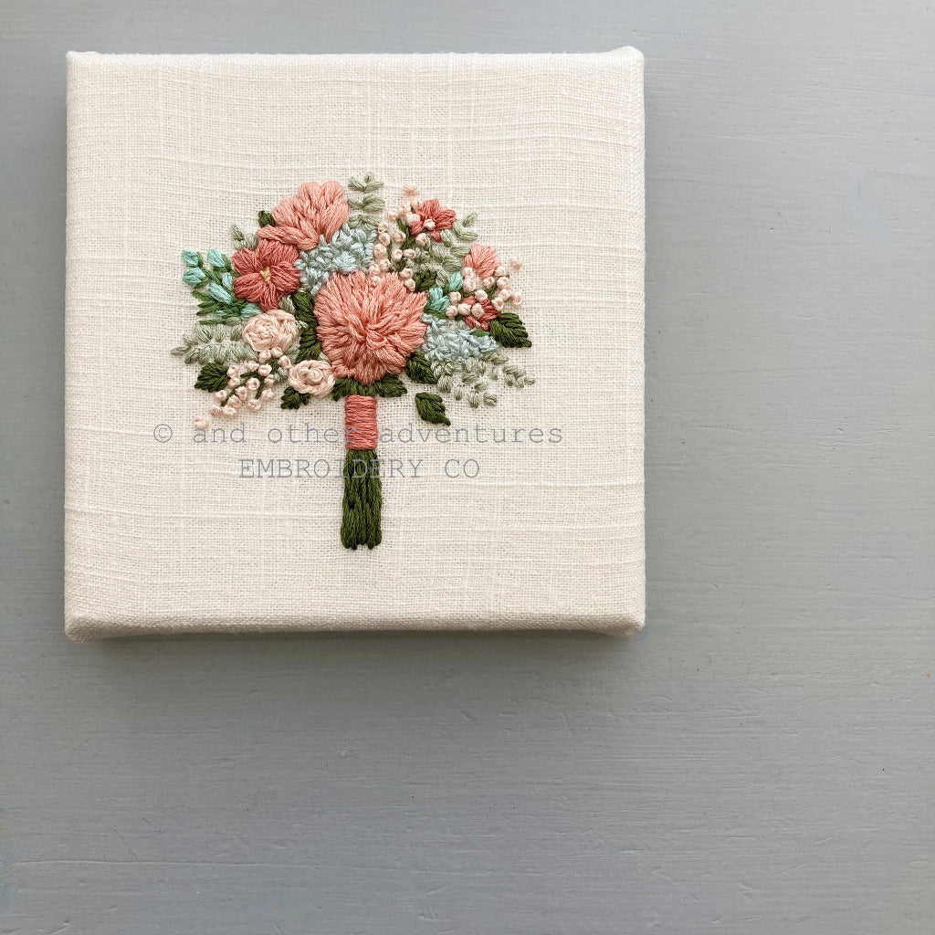 Hand Embroidered Terracotta Floral Bouquet Original Art | And Other Adventures Embroidery Co