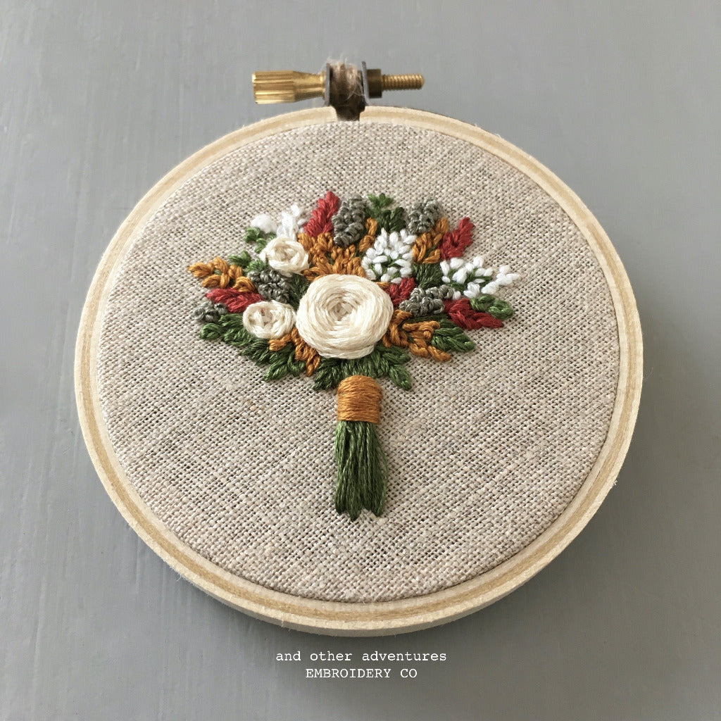 Hand Embroidered Fall Bouquet Hoop Art by And Other Adventures Embroidery Co