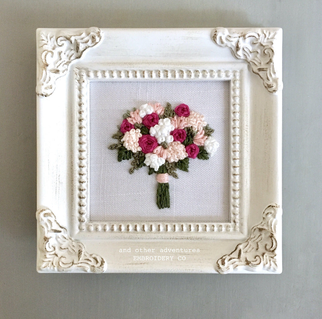 Hand Stitched Framed Pink Floral Bouquet Art