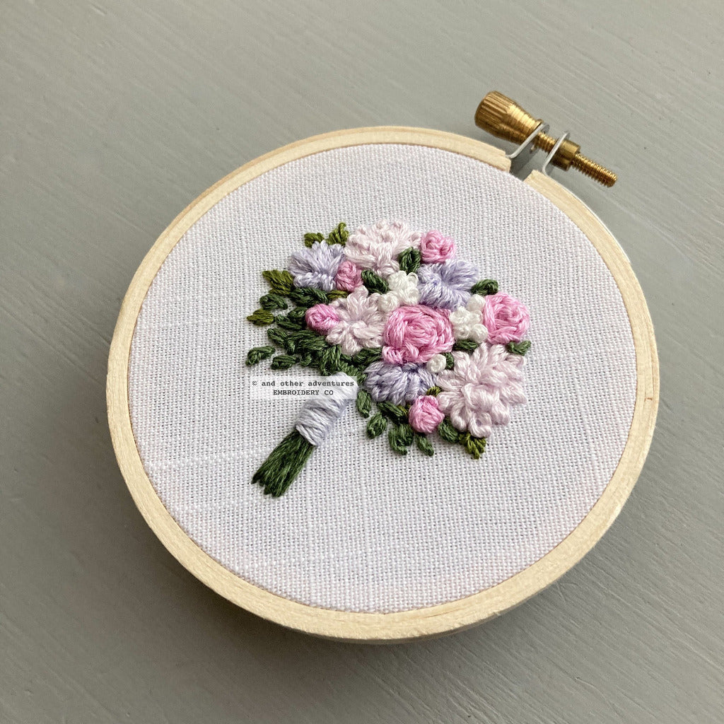Pale pink and lilac embroidered flowers | And Other Adventures Embroidery Co