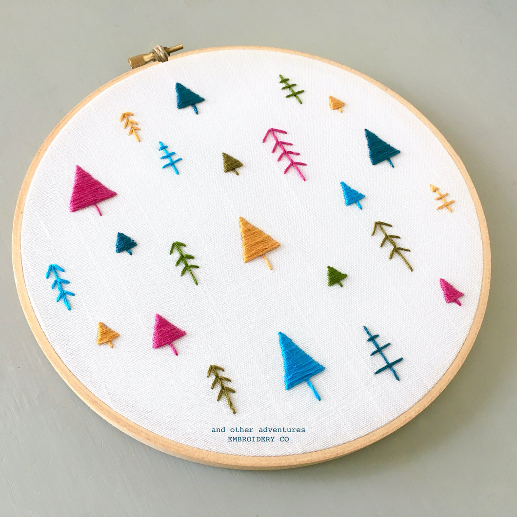 Embroidered Christmas Trees Hoop Art by And Other Adventures Embroidery Co