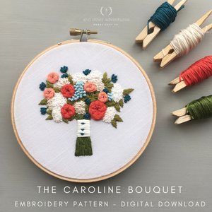 The Caroline Bouquet DIY Hand Embroidery Beginner Pattern Digital Download by And Other Adventures Embroidery Co