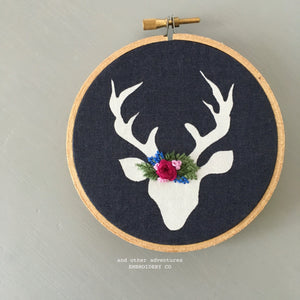 Handmade Christmas Deer Ornament Embroidery - Stocking Stuffer by And Other Adventures