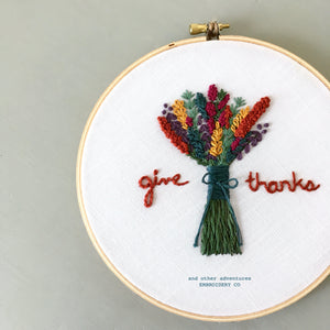 Give Thanks Embroidered Floral Hoop Art by And Other Adventures Embroidery Co