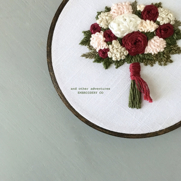 Hand Embroidered Holiday Floral Bouquet by And Other Adventures Embroidery Co