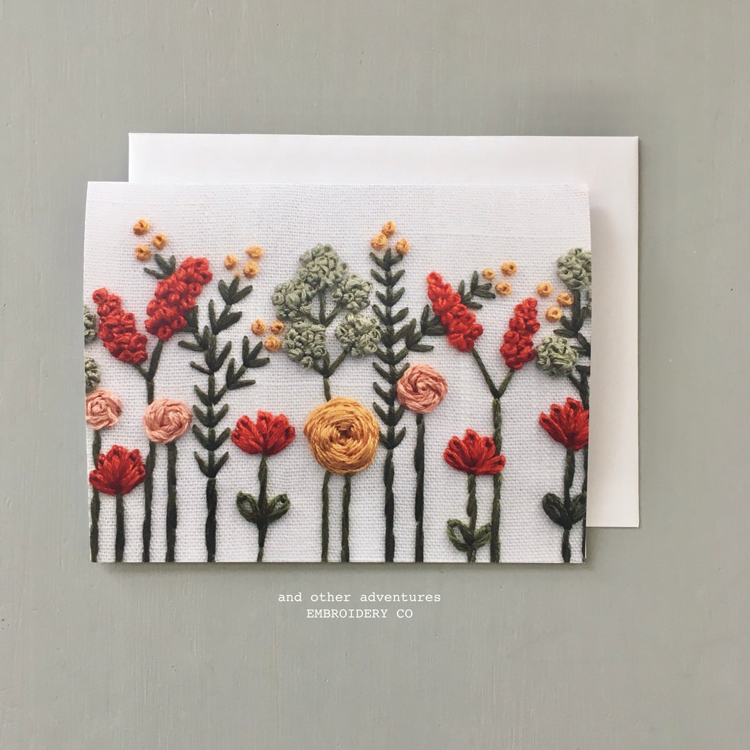 Fall Floral Embroidery Note Card by And Other Adventures Embroidery Co