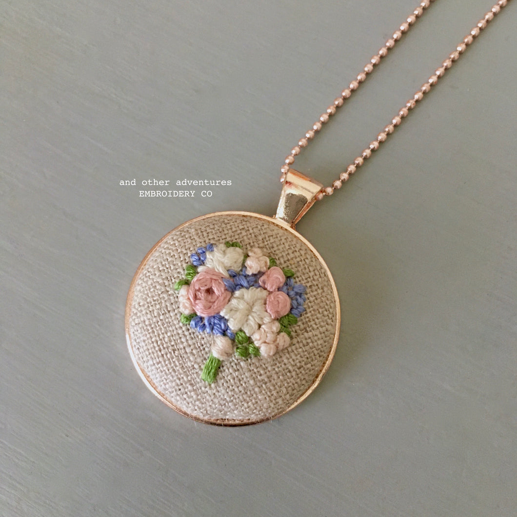 Blush and Periwinkle Rose Gold Embroidered Necklace