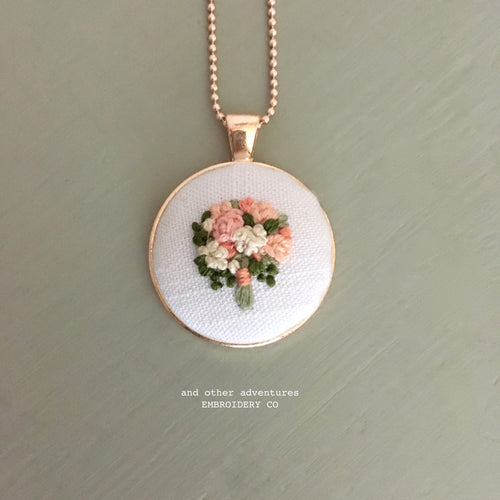 Rose Gold Floral Bouquet Necklace