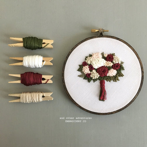 Hand Embroidered Christmas Bouquet Hoop Art by And Other Adventures Embroidery Co