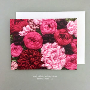 Greeting Card - Magenta Pink Florals by And Other Adventures Embroidery Co