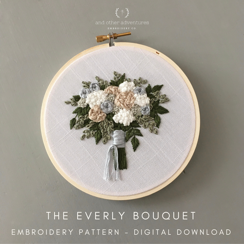 The Everly Bouquet - DIY Wedding Bouquet Digital Embroidery Pattern by And Other Adventures Embroidery Co