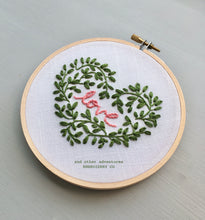 DIY LOVE heart beginner hand Embroidered Hoop Art digital download by And Other Adventures Embroidery Co