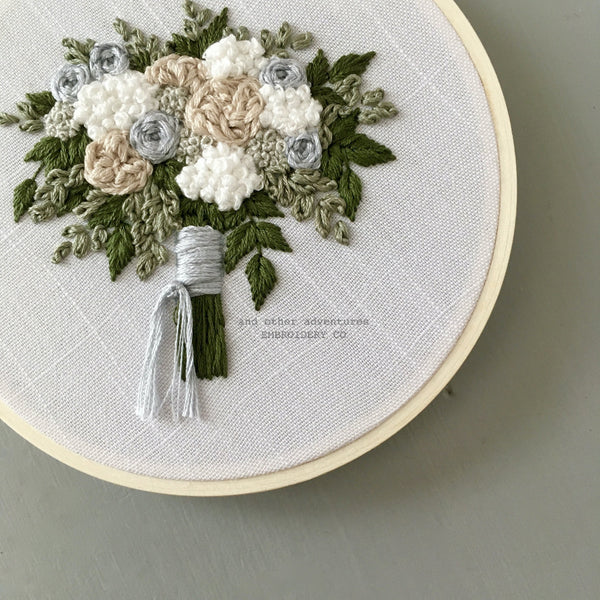 DIY Wedding Bouquet Embroidery Pattern in subtle, neutral colors by And Other Adventures Embroidery Co