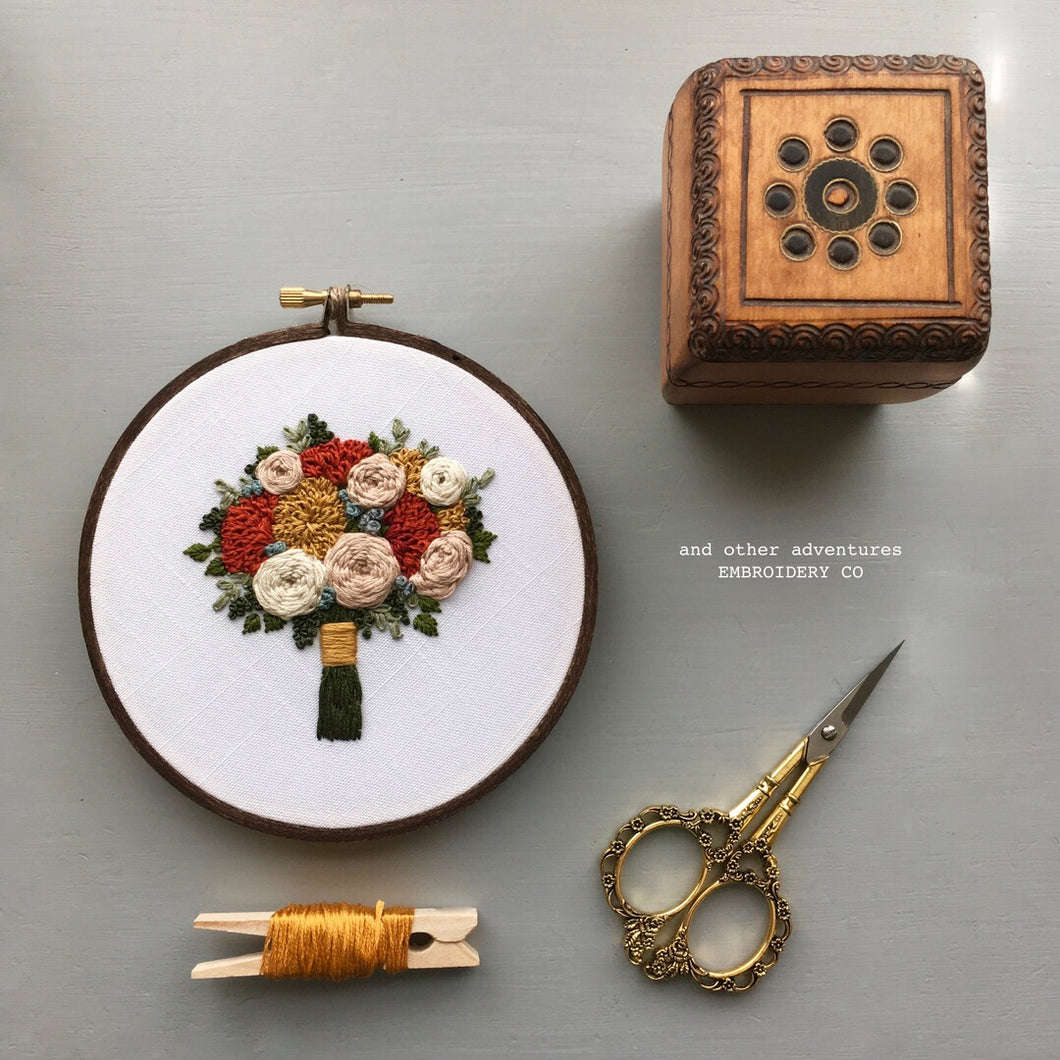 Thanksgiving Floral Bouquet Hoop Art by And Other Adventures Embroidery Co