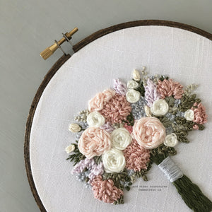 Pale Pink and Mauve Hand Embroidered Flower Bouquet by And Other Adventures Embroidery Co