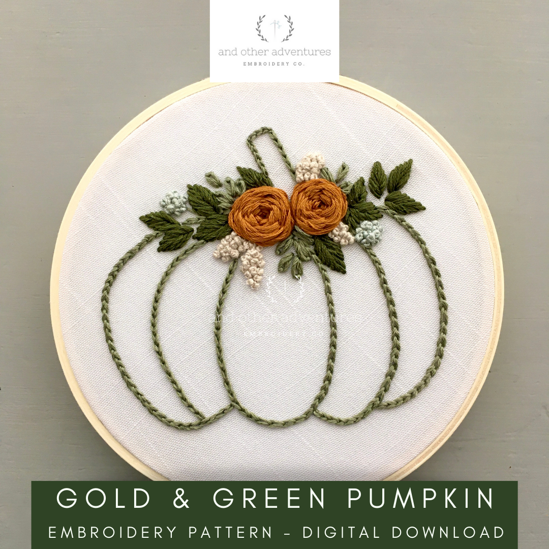 Gold and Green Floral Fall Pumpkin Embroidery Pattern | And Other Adventures Embroidery Co
