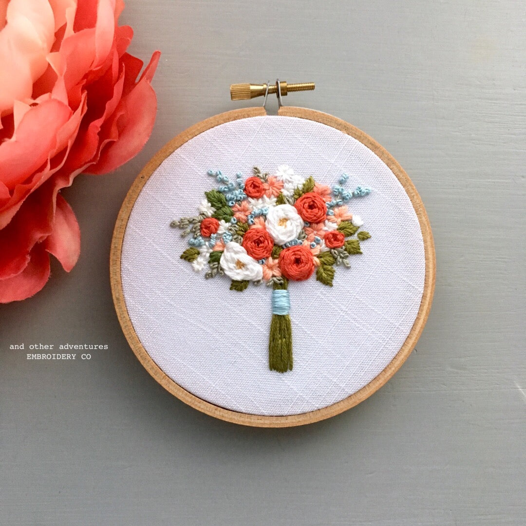 Coral Summer Flower Bouquet Embroidery Hoop by And Other Adventures Embroidery Co
