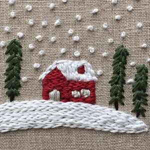 Christmas Cabin Hand Embroidered Hoop Art by And Other Adventures
