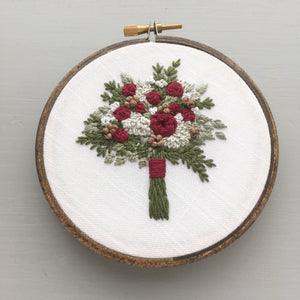 crimson floral bouquet embroidery