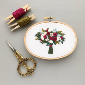 embroidered bouquet oval hoop
