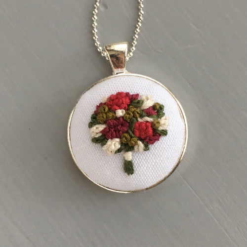 Hand embroidered floral bouquet