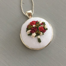 silver embroidered pendant necklace