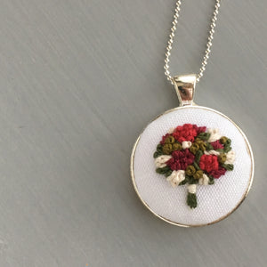 Floral Bouquet Embroidered Necklace