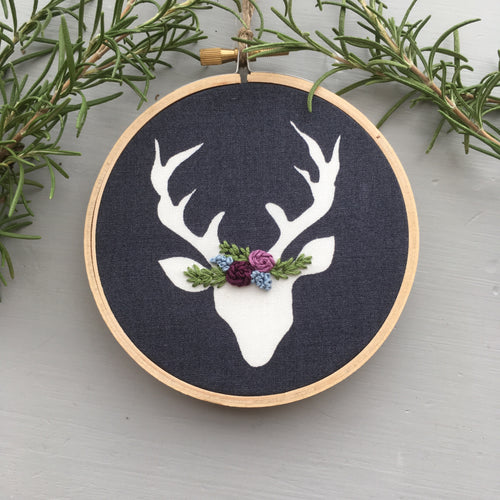 Christmas Deer Embroidery by And Other Adventures Embroidery Co