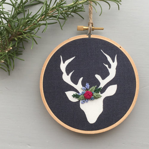 Christmas Deer Embroidered Ornament