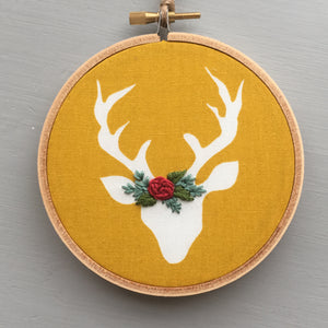 Mustard Yellow Deer Embroidery Hoop