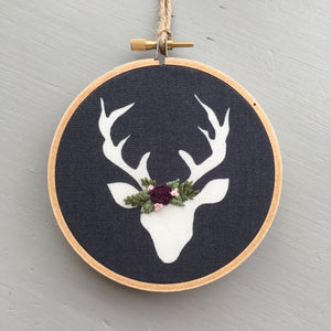Woodland Deer Embroidered Ornament