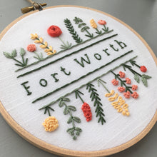 Fort Worth - Hand Embroidered Hoop Art