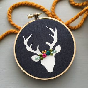 Hand Embroidered Christmas Deer Ornament by And Other Adventures Embroidery Co
