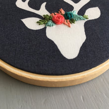 Floral Crown Deer Embroidery Christmas Ornament by And Other Adventures Embroidery Co