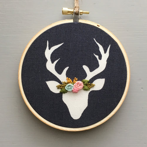 Hand Embroidered Christmas Deer Ornament