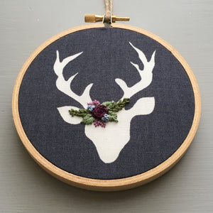 Floral Embroidery Deer Ornament by And Other Adventures Embroidery Co