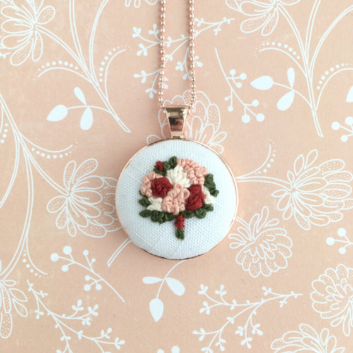 Rose Gold Floral Embroidered Necklace