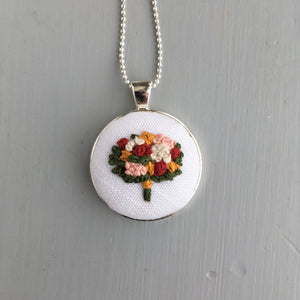 Hand Embroidered Floral Bouquet Necklace