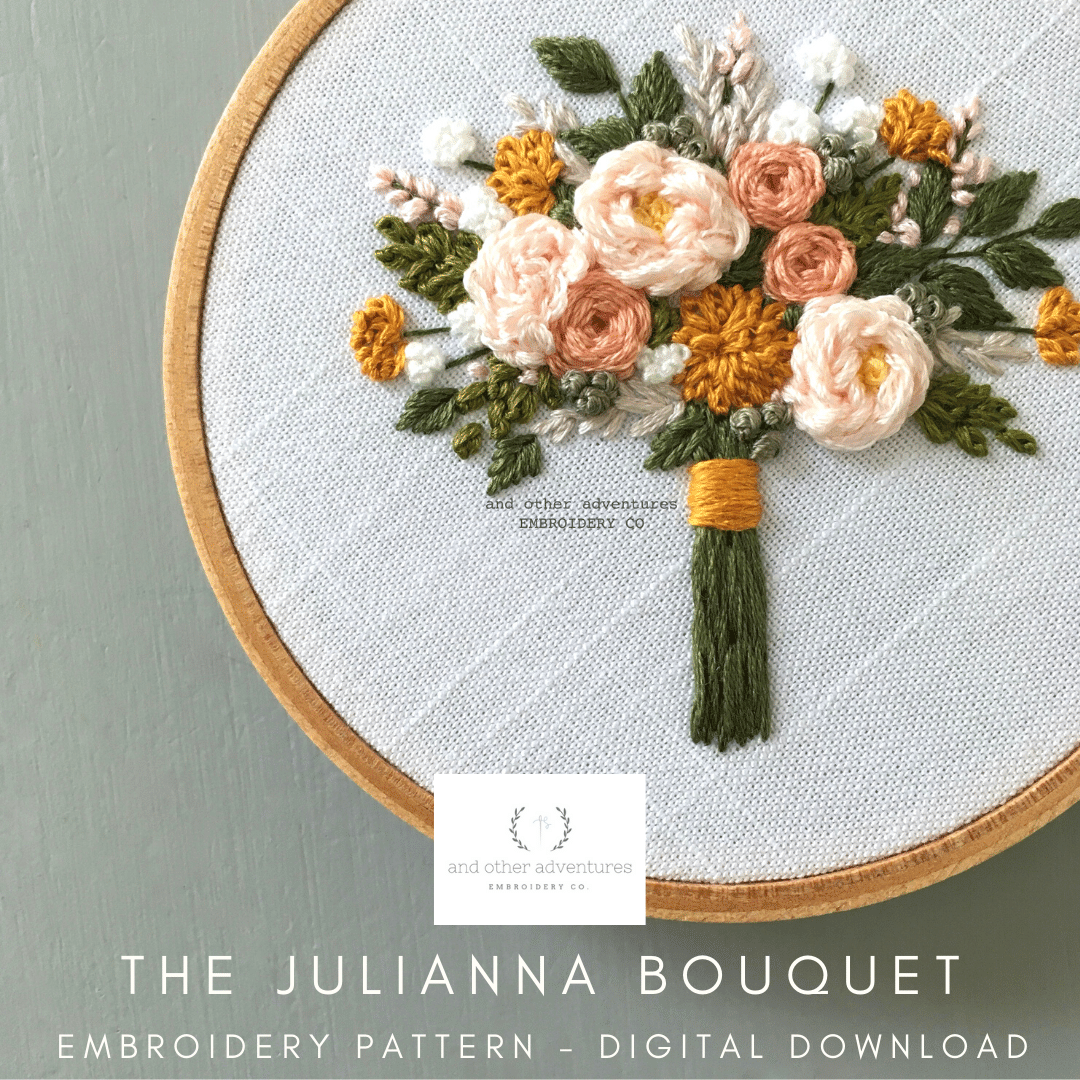 The Julianna Bouquet Hand Embroidery Pattern Digital Download | And Other Adventures Embroidery Co