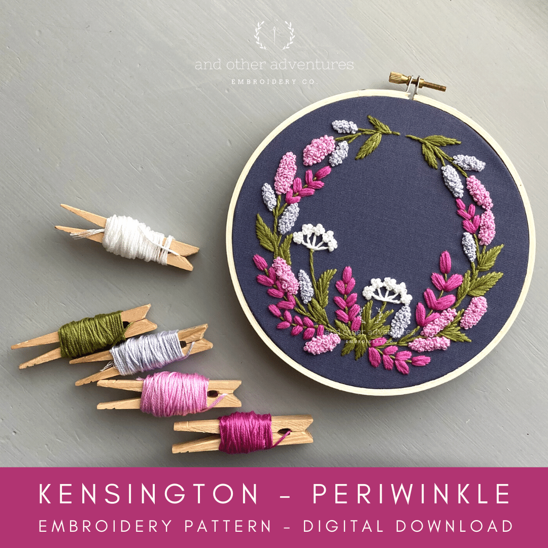 Hand Embroidery Digital Pattern - Kensington - Periwinkle