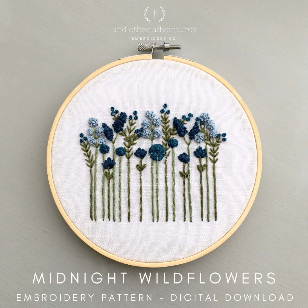 Midnight Blue Wildflowers Beginner Hand Embroidery Digital Pattern | And Other Adventures Embroidery Co